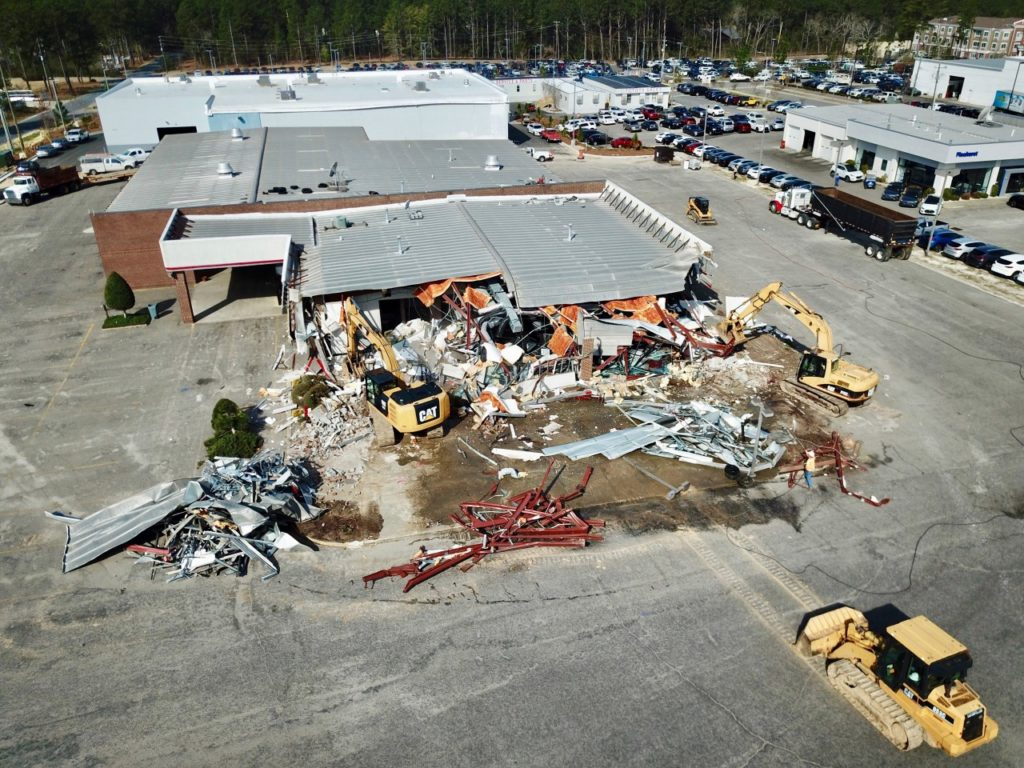 Tearing down the old dealership. Selecting a good General Contractor will make sure all phases go smoothly