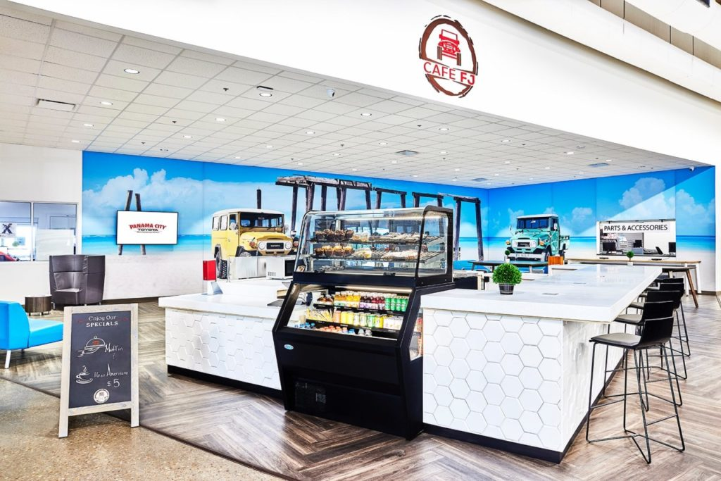 Putting a cafe in your dealership is easier that you think. Bright, modern Toyota Landcruiser themed cafe at Panama City Toyota